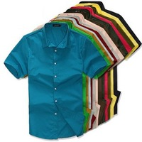 Free shipping 2012 Summer mens pure color cotton short sleeve shirt men Fashion causal hihg quality shirts 16 colors size M~XXXL