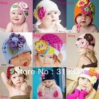 Girls' Flower Cap Handmade Baby crochet Hat Kids Infant Beanie Crochet Flower Hat 10pcs lot HT01