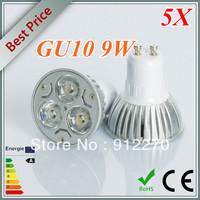 5X 9W GU10 Dimmable 85-265V White/ Warm White 3*3W LED Spot Light Lamp Bulb led lighting free shipping