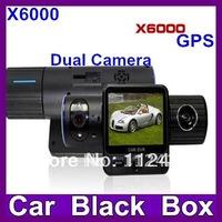 New dual camera Car DVR camera X6000 , rotatable lens +GPS logger +G-sensors + Multi-languages car black box free shipping