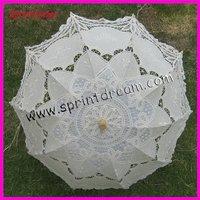 Free shipping!!White Full Batten Lace Parasol Umbrella Wedding Xmas /battenburg lace umbrella
