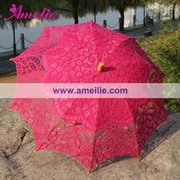100% Handicraft Vintage Florence Lace Wedding Bridal Umbrellas Parasols Hot Pink Color