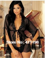 2013 aolover Chiffon Sleepwear Sexy jacket lingerie women babydoll 1099 Black,Red 2 colors wholesale plus size M, XL retail