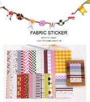 Daily Decoration Fabric Pattern & Colour Sticker, Children Living DIY Decoration Sticker, Korea Style Paper Sticker Wholesale