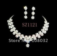 MIN.ORDER $15,shining jewelry set for bride,little flowers with pearls