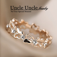Beautiful!!! 18K Real Gold Plated Rhinestones Setting Lovely Butterfly Round Design Fashion Lady Finger Ring Wholesale