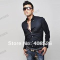 2012 Fashion New Men's Shirt Dress Shirts Long sleeve Casual Slim Fit Black Blue Wine Red US Size XS S,M ,L Free Shipping 5208