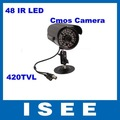 ISEE Style Free Shipping China Post 48 LED Color Night Vision Indoor/Outdoor security CMOS IR CCTV Camera