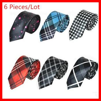 6 Pieces / Lot ,Top Quality  Men's 6  Colors  Fashion Stripes  Grids Printing Ties ,  Length 142CM ,Width 3.5-6.5CM , GT 001
