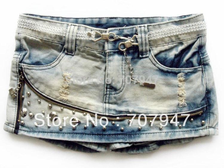 Free shipping 2014 Fashion slim denim shorts, ultra-short bust jeans skirt, jeans pants skirt with Rivet, Wholesale(China (Mainland))