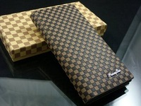 long pocket checkered men's wallet