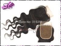 "IS 6A virgin Brazilian body wave Free part middle part 3 ways part lace top closures 3.5x4"" bleached knots swiss lace"