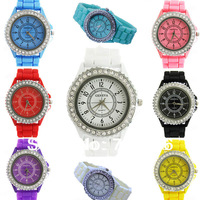 2013 Hot New Fashion geneva Lady brand Crystal Silicone Watch  Jelly watch for women wedding quartz watch gift Free Shipping