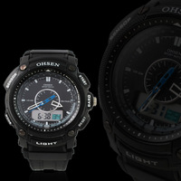 OHSEN Men's Analog + Digital Waterproof Quartz Sport Watch Dual Time Alarm Black Rubber Strap AD1209-1