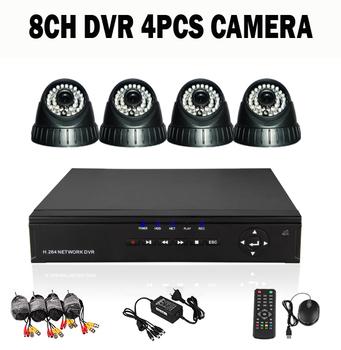 8ch Home Security DVR Recorder Systems 4PCS 480TVL IR Indoor Surveillance CCTV Camera Kit HDD Sells Seperatly