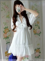 Free ship White/Blue/Pink.Korean Fashion bow leisure waist V-neck Chiffon Dress 2013 Spring Summer Women knee-length Cute Dress