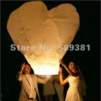 10 pcs/Lot, Free Shipping, Hearted-Shaped Chinese Conventional  Festival Flying Sky Lanterns, Big Size Lanterns, White and Red