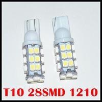 Free shipping wholesale 50pcs T10 Car High Power 168 194 W5W White 28 SMD LED Wedge Light Bulb Lamp 12V