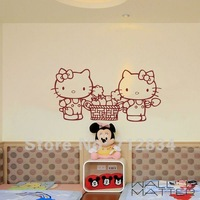 [B.Z.D] Free Shipping WALL'S MATTER Romantic Home Decor Hello Kitty Giant Wall Stickers Wall Decals 100x50cm