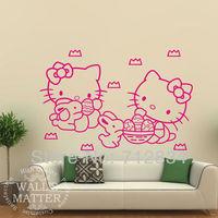 [B.Z.D] Free Shipping Vinyl Wall Art Decor Sticker Easter Hello Kitty Mural Kids Decals For Living Room 55x40cm