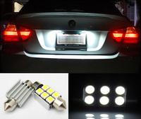 2pcs/lot Festoon 36mm 37 6 SMD 5050 Can Bus Error Free Car LED Dome License plate Light Interior White 6411 6418 6423 6461