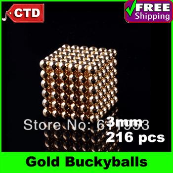 Gold 216pcs Diameter 3mm Neocube Magic Cube Magnetic Balls Buckyballs