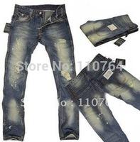 2014 Gorgeous Men Fashion D Jeans Straight Leisure Jeans Classic Ripped Brand Wash Men Plus Size Denim Pants Promotion Sale