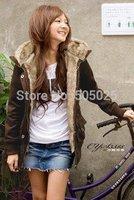 Mex jacket long winter fur hoodie women plus velvet fur collar thick long sleeve cardigans jacket / Coat / Hoodies