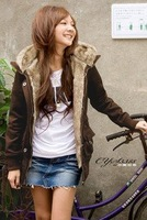 women's new Autumn & winter plus velvet lamb fur collar thick Weight 780g long sleeve cardigans jacket / Coat / Hoodies