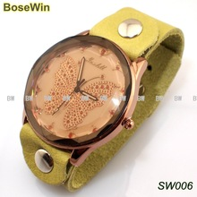 New arrival romantic butterfly leather Watches, trendy Watches with top layer leather watchband, have 3 colors SW006