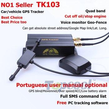 TK103  Car GPS tracker Quadband cut off fuel SD card slot  GPS Crawler 11 kinds language web-based&Free PC GPS tracking system