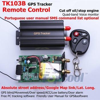 TK103B Vehicle GPS tracker Remote Control Portoguese Manual OK Quad band SD card GPS 103 crawler PC&web-based GPS racking system