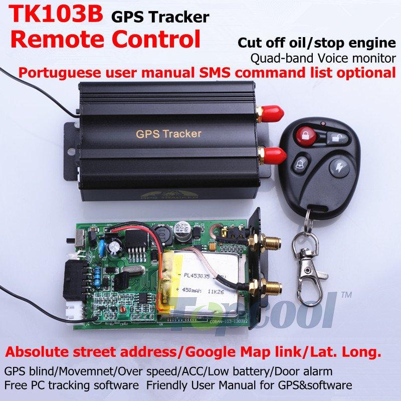 TK103B Vehicle GPS tracker Remote Control Portoguese Manual OK Quad band SD card GPS 103 crawler PC&web-based GPS racking system(China (Mainland))