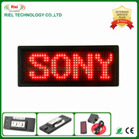 Free Shipping Red  color 1piece/lot LED Scrolling Name Badge LED Tag Message Sign Board 12x36 Comes in Red color