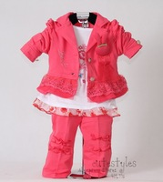 Retail Hot Pink Kids Clothes Set For Baby Girls 3Pcs: Coat and T Shirt and Pants 2012 New Autumn Clothing 100% Same Like Picture