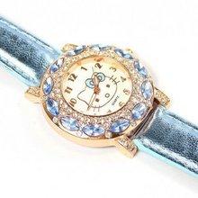 holiday sale high quality Leather Hello Kitty Watch Children women dress fashion Crystal wrist Watch 1072