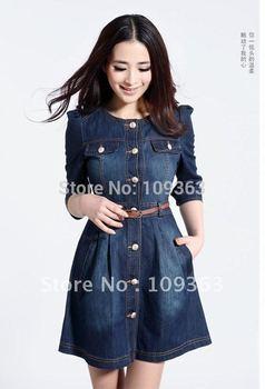Brand Newest Vintage Fashion Women's Denim Dress,Popular Lace Neck Ladies' jeans casual Dresses plus sizes,Free shipping QQ1341