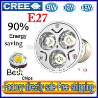Factory directly sale 10pcs/lot CREE Bulb led bulb E27 9W 12W 15W 110-240V Dimmable led Light led lamps spotlight free shipping