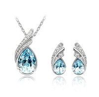 lowest price on aliexpress, angle wing Austrian crystal gold plated jewellery set 18k silver