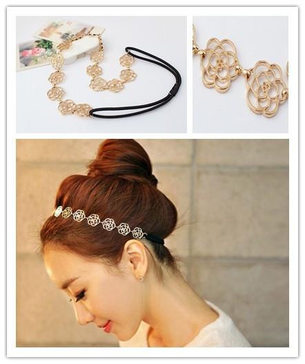 Min Order 10 Usd(mix Item)fashion Vintage Beauty Rose Headband Hairpin Hair Jewelry Free Shipping Spx0519 Gold/silver E-joy Life