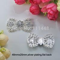 (S0271) 25mmx48mm rhinestone embellishment,100pcs/lot,bow shape,silver plating,flat back