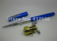 Promotion! Clearance Sell Mini pocket fishing rod pen fish pole,rod /1m Golden reel (Blue and Black) WIthout Retain Box
