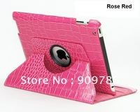 Fashion crocodile pattern PU leather case 360 degree rotating smart cover for ipad 2 ipad 3 free shipping