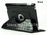hot sale crocodile pattern 360 degree rotating magnetic smart cover  for ipad 2 ipad 3 stand holder 60pcs/lot