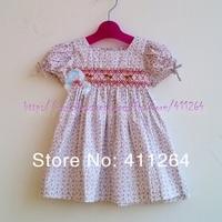 5pcs/lot (1-5Y) wholesale children girls print floral smocked dress with manual flod flower girls dress kids princess dresses