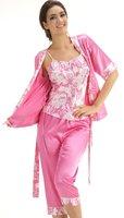 LZ nightwear summer autumn female sexy spaghetti strap vest  Cropped Trousers  half sleeve 3 piece sleepwear pajama sets M L XL