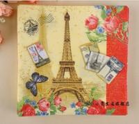 280pcs/lot 14pack/lot 100%Virgin Wood Pulp Napkin /Napkin Color Paper, Pairs Eiffel Tower 33X33cm /100 designs to choose