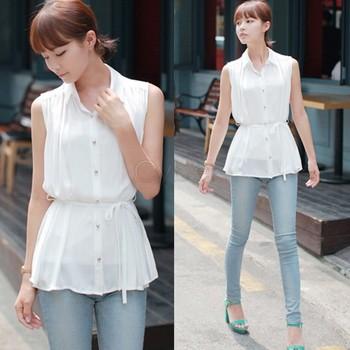 New Fashion Korean Chiffon Sleeveless Casual Blouse Shirt Top For Women