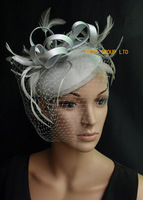 Silver grey Fascinator/felt  carnival fascinator with feathers and veiling for weeding and kentucky derby.FREE SHIPPING.