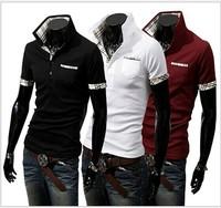 2014 Hot Sale New Casual Men's Shirt  Men's Stylish Slim Short Sleeve T Shirt Tree Colors Free Shipping Size S-XXL 359